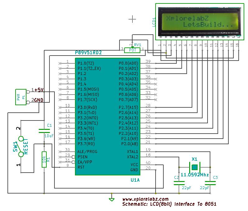 fig 3: schematic lcd 8 bit mode