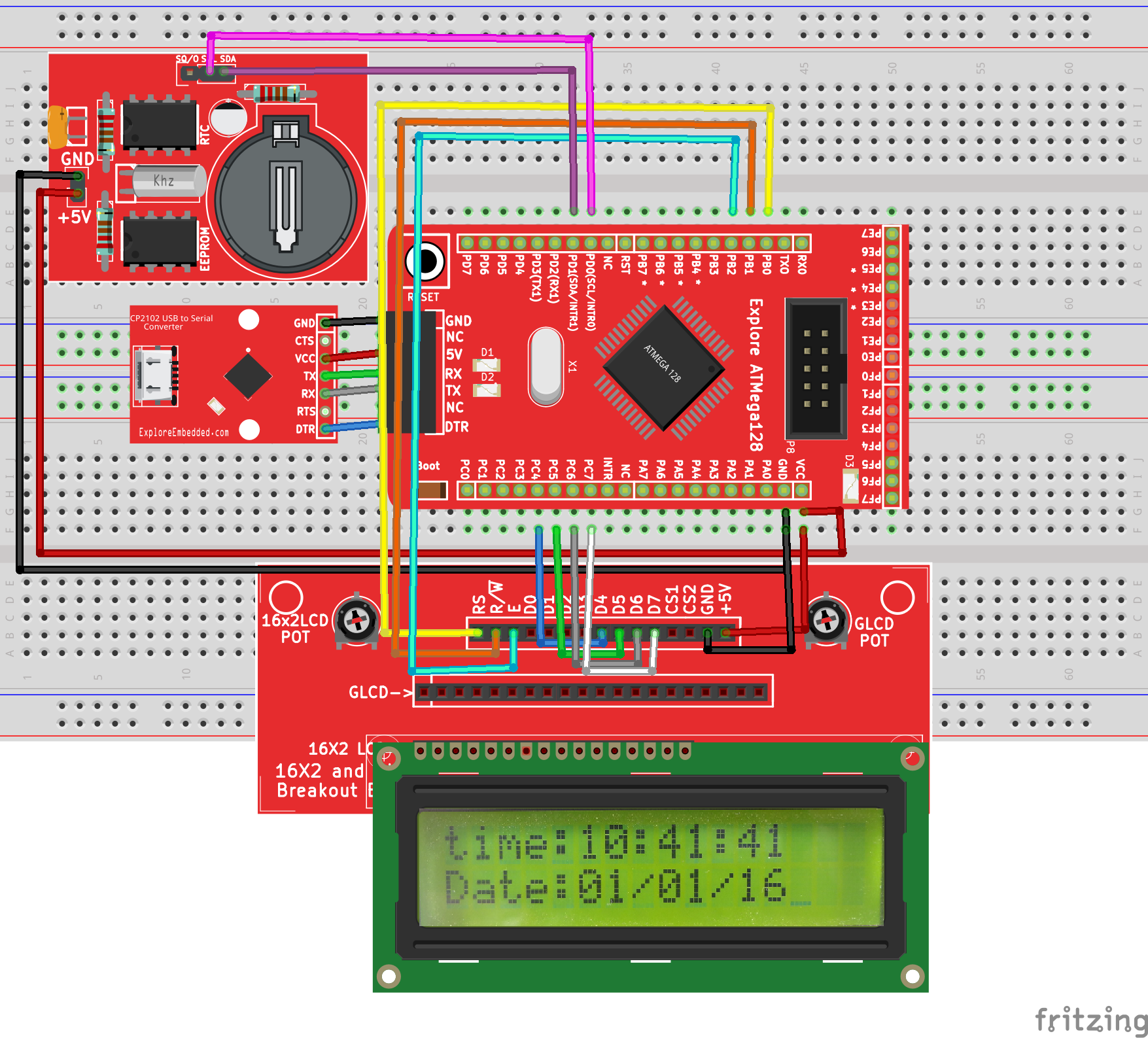 Interfacing RTC with Atmega128 Breakout - Tutorials