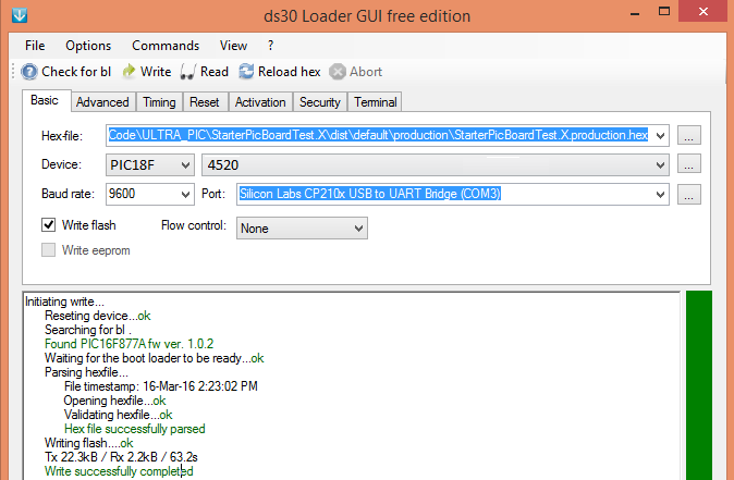 Uploading Hex File to PIC18F4520 Using Ds30 Bootloader